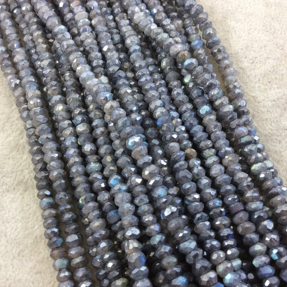 3-4x6mm Faceted DARK GRAY MYSTIC Natural Iridescent Labradorite Rondelle Shaped Beads - 13