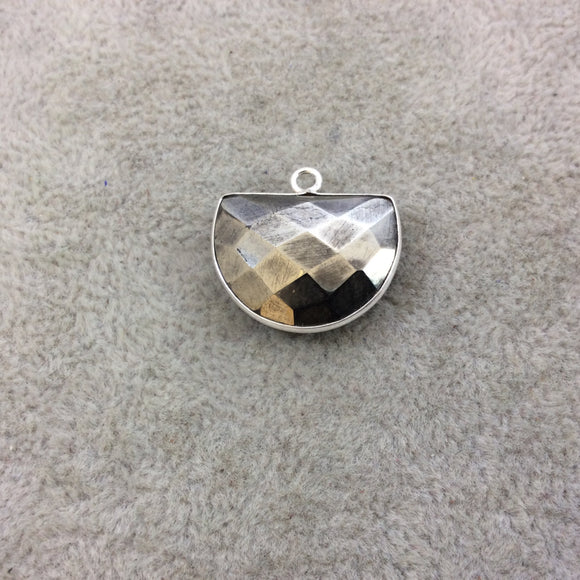 Sterling Silver Faceted Half Moon Shaped Natural Pyrite Bezel Pendant Component - Measuring 20mm x 15mm - Sold Individually, Random