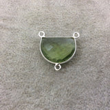 Sterling Silver Faceted Half Moon Shaped Light Green Hydro (Man-made) Quartz Bezel Pendant - Measuring 20mm x 15mm - Sold Individually