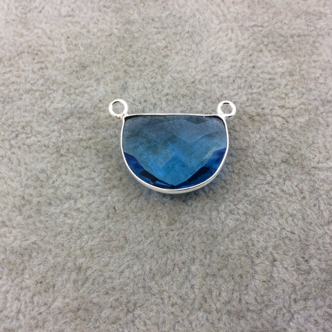 Sterling Silver Faceted Half Moon Shaped Sky Blue Hydro (Man-made) Quartz Bezel Pendant - Measuring 20mm x 15mm - Sold Individually
