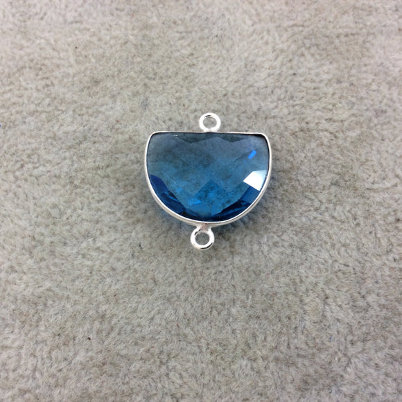 Sterling Silver Faceted Half Moon Shape Sky Blue Hydro (Man-made) Quartz Bezel Pendant/Connector - Measuring 20mm x 15mm - Sold Individually