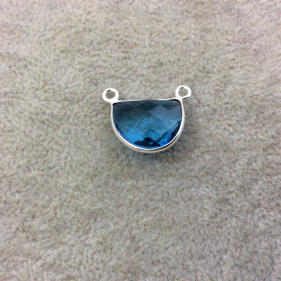 Sterling Silver Faceted Half Moon Shaped Sky Blue Hydro (Man-made) Quartz Bezel Pendant - Measuring 16mm x 12mm - Sold Individually