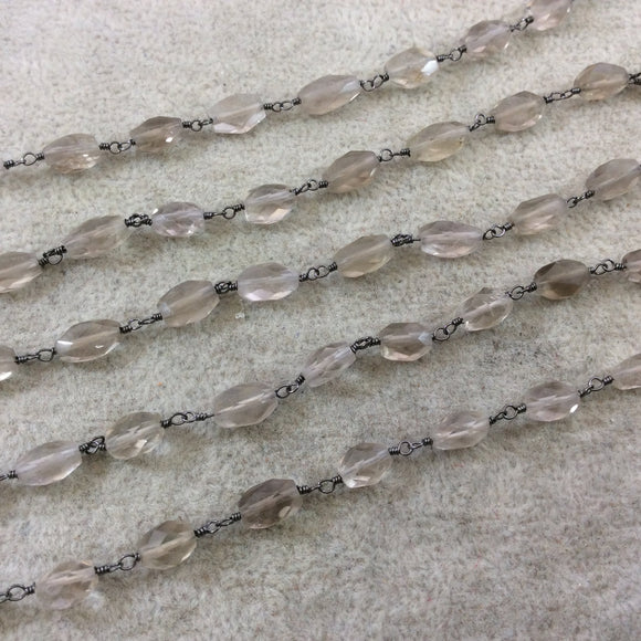 Gunmetal Plated Copper Wrapped Rosary Chain with 8-12mm Long Faceted Natural Smoky Quartz Nugget Beads - Sold by 1' Cut Sections or in Bulk!