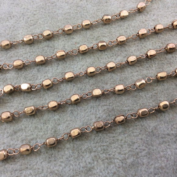 Light Rose Gold Plated Copper Wrapped Rosary Chain with 4mm Plated Copper 3D Square/Cube Shaped Beads - Sold by 1' Cut Sections or in Bulk!