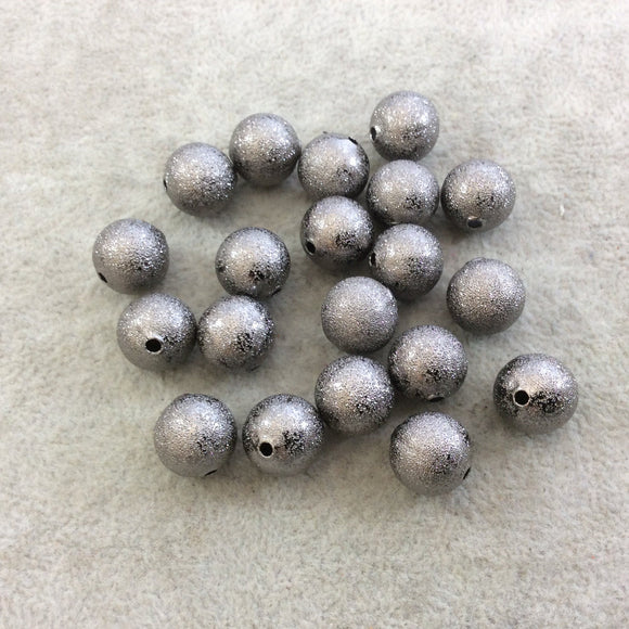12mm Sandblasted Stardust Finish Gunmetal Base Metal Round/Ball Shaped Beads with 2mm Holes - Loose, Sold in Pre-Packed Bags of 20 Beads