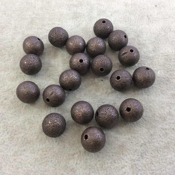 12mm Sandblasted Stardust Finish Antique Copper Base Metal Round Shaped Beads with 2mm Holes - Loose, Sold in Pre-Packed Bags of 20 Beads