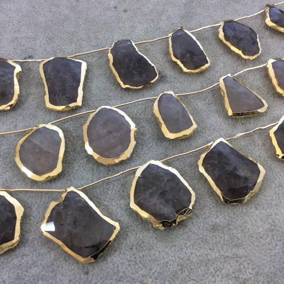 Gold Electroplated Faceted Freeform Slab Shaped Natural Rutilated Quartz Top-Drilled Beads - 9.5
