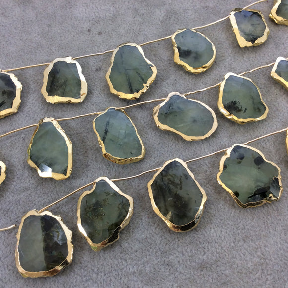 Gold Electroplated Faceted Freeform Slab Shaped Natural Green Prehnite Top-Drilled Beads - 9.5
