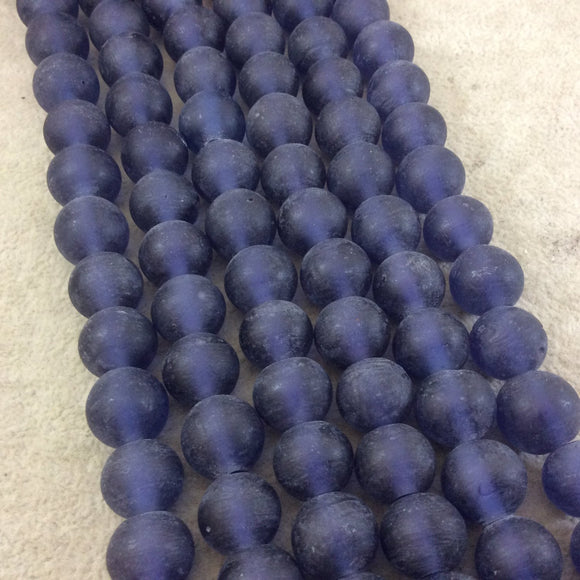 14mm Matte Denim Blue Irregular Rondelle Shaped Indian Beach/Sea Glass Beads - Sold by 16