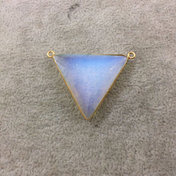 Gold Plated Faceted White Opalite (Manmade Glass) Inverted Triangle Shaped Bezel Pendant - Measuring 35mm x 35mm - Sold Individually