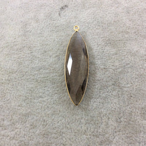 Gold Finish Faceted Smoky Quartz Marquise Shape Bezel Pendant/Charm Component - Measuring 13mm x 45mm - Natural Gemstone - Sold Individually