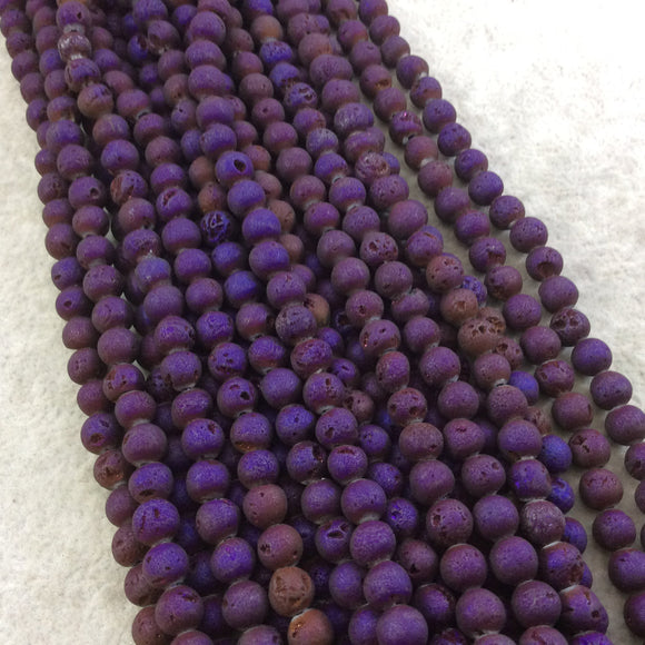 6mm Matte Finish Premium Deep Purple Titanium Druzy Agate Round/Ball Shaped Beads with 1mm Holes - Sold by 15.5