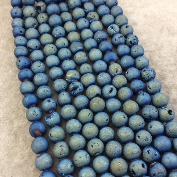 8mm Matte Finish Premium Medium Blue/Gold Druzy Agate Round/Ball Shaped Beads with 1mm Holes - Sold by 15.5