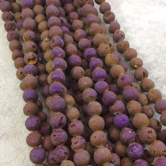 8mm Matte Finish Premium Metallic Purple/Bronze Druzy Agate Round/Ball Shape Beads with 1mm Holes - Sold by 15.5