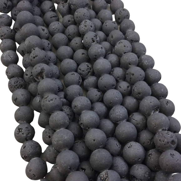 10mm Matte Finish Premium Dark Black/Gray Druzy Agate Round/Ball Shaped Beads with 1mm Holes - Sold by 15.5