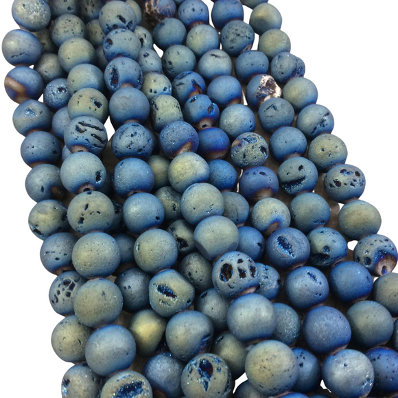 10mm Matte Finish Premium Light Blue/Gold Druzy Agate Round/Ball Shaped Beads with 1mm Holes - Sold by 15.5