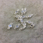 BULK PACK of Six (6) Sterling Silver Pointed/Cut Stone Faceted Round/Coin Shaped Moonstone Bezel Connector Component - Measuring 4-5mm