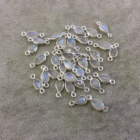 BULK PACK of Six (6) Sterling Silver Pointed/Cut Stone Faceted Teardrop/Pear Shaped Moonstone Bezel Connector Component - Measures 5mm x 7mm