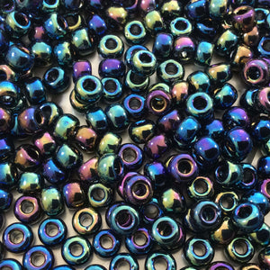 Size 6/0 Opaque Rainbow AB Finish Black Genuine Miyuki Glass Seed Beads - Sold by 20 Gram Tubes (Approx. 200 Beads per Tube) - (6-9401R)