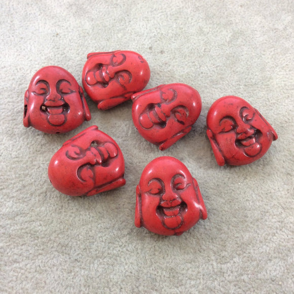 BULK PACK of 6 (Six) Bright Red Dyed Howlite Buddha Head/Face Shaped Beads with 1mm Holes - Measuring 28mm x 30mm, Approximatley