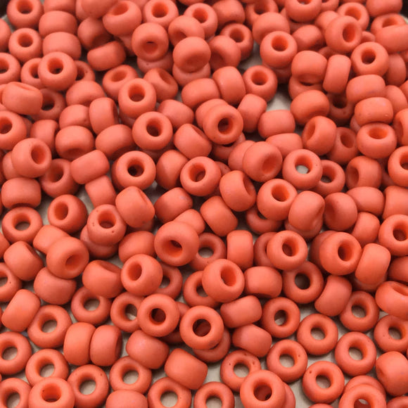Size 6/0 Matte Finish Opaque Terracotta Genuine Miyuki Glass Seed Beads - Sold by 20 Gram Tubes (Approx. 200 Beads per Tube) - (6-91236)