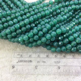"6mm Faceted Dyed Pine Green Natural Agate Round/Ball Shaped Beads - Sold by 15"" Strands (Approximately 62 Beads) - High Quality Gemstone"