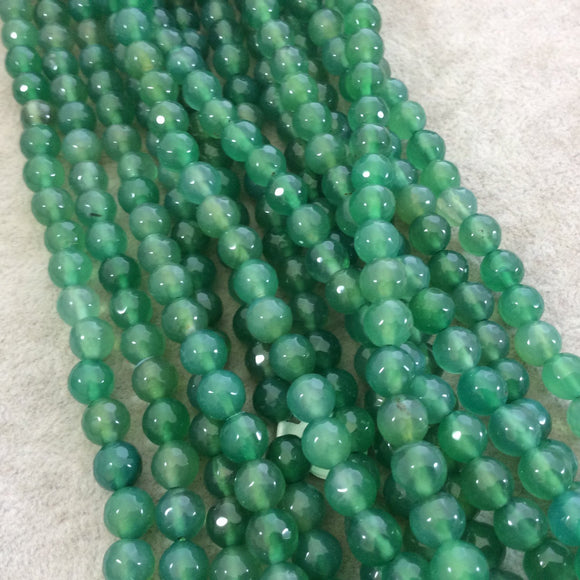 8mm Faceted Dyed Bright Green Agate Round/Ball Shape Beads with 1mm Holes - Sold by 15