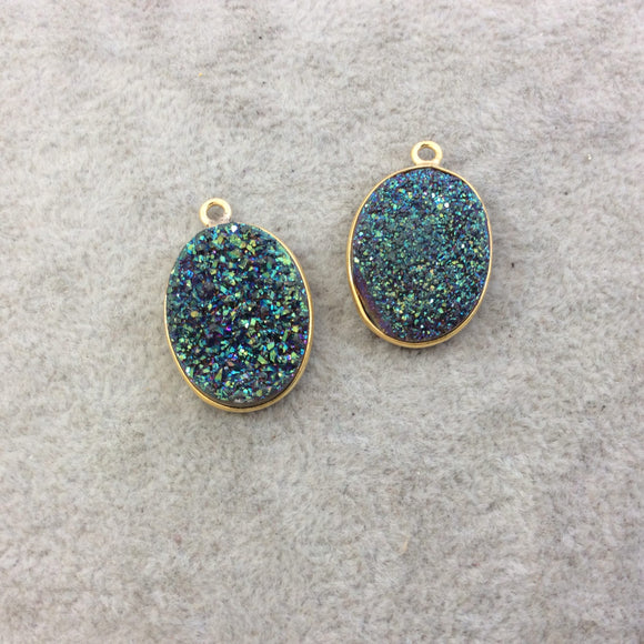 Gold Electroplated Natural Green/Blue Titanium Druzy Agate Oval Shaped Bezel Pendant - Measuring 15mm x 20mm, Approx. - Individual, Random