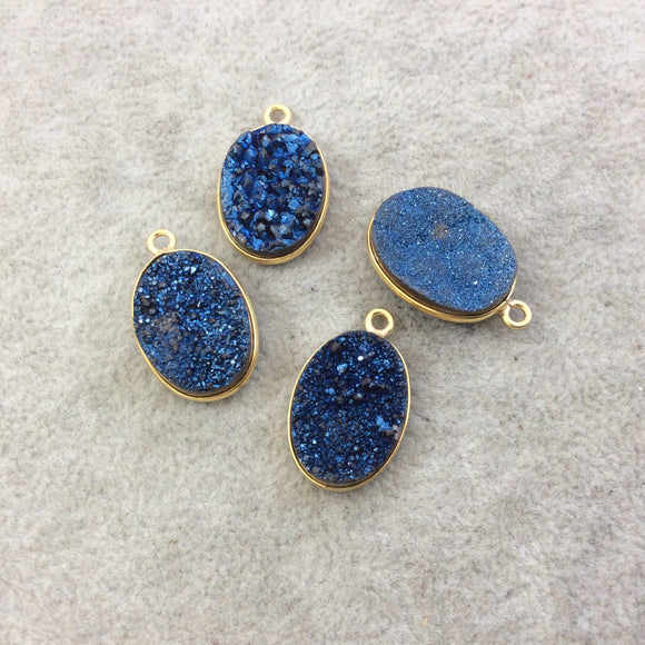 Gold Electroplated Natural Deep Blue Titanium Druzy Agate Oval Shaped Bezel Pendant - Measuring 13mm x 18mm, Approx. - Individual, Random