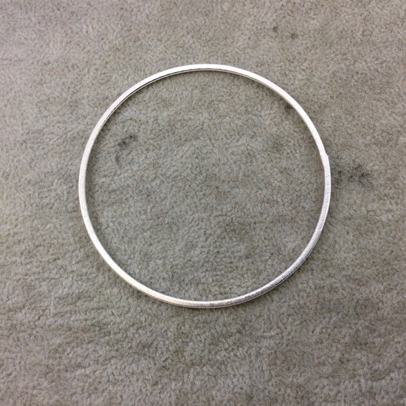 70mm Silver Brushed Finish Open Circle/Ring/Hoop Shaped Plated Copper Components - Sold in Pre-Counted Bulk Packs of 10 Pieces - (012-SV)