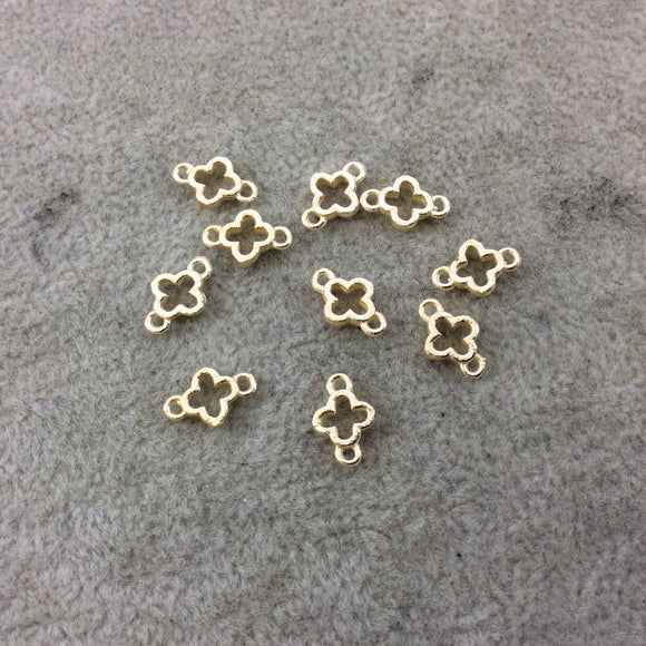 6mm Gold Brushed Finish Quatrefoil Shaped Plated Copper Connector Components - Sold in Pre-Counted Bulk Packs of 10 Pieces - (043-GD)