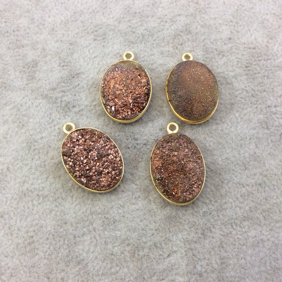 Gold Electroplated Natural Peach/Brown Titanium Druzy Agate Oval Shaped Bezel Pendant - Measuring 15mm x 20mm, Approx. - Individual, Random