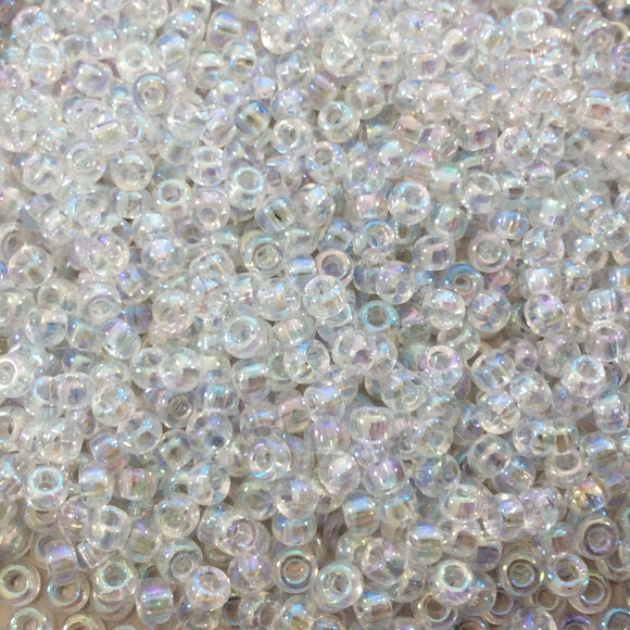 Size 8/0 Glossy AB Finish Trans. Crystal Genuine Miyuki Glass Seed Beads - Sold by 22 Gram Tubes (Approx. 900 Beads per Tube) - (8-9250)