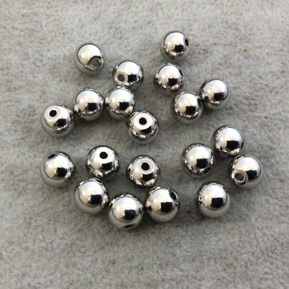 8mm Glossy Finish Silver Plated Brass Round/Ball Shaped Metal Spacer Beads with 1mm Holes - Loose, Sold in Pre-Packed Bags of 20 Beads