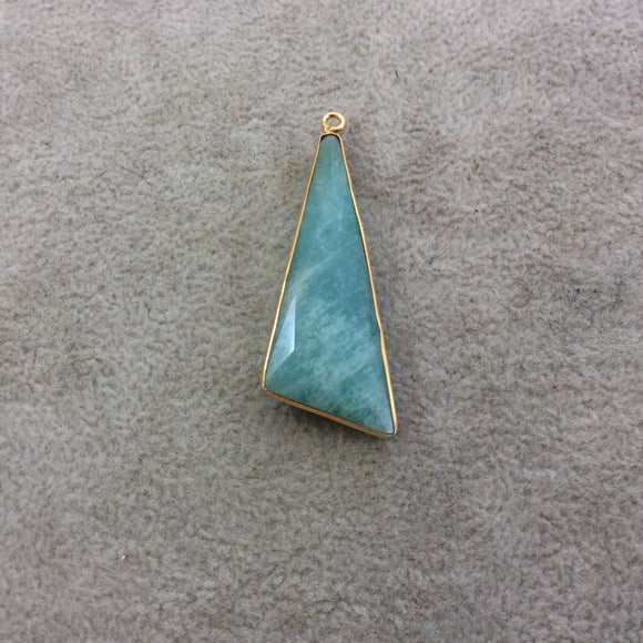 Gold Plated Natural Amazonite Faceted Triangle/Sail Shaped Copper Bezel Pendant - Measures 17mm x 47mm - Sold Individually, Random