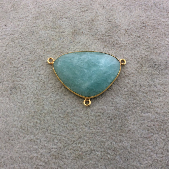 Gold Plated Natural Amazonite Faceted Triangle Shaped Copper Bezel Flat Backed Pendant - Measures 33mm x 23mm - Sold Individually, Random