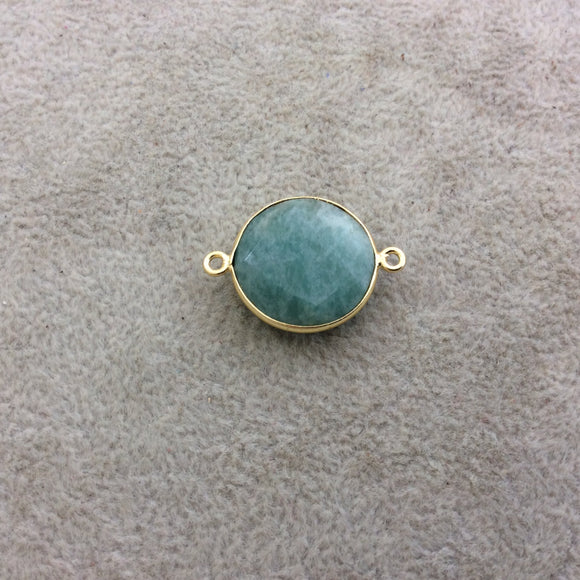 Gold Plated Natural Amazonite Faceted Round/Coin Shaped Copper Bezel Connector/Link - Measures 18mm x 18mm - Sold Individually, Random