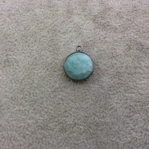Gunmetal Plated Natural Amazonite Faceted Round/Coin Shaped Copper Bezel Pendant - Measures 15mm x 15mm - Sold Individually, Random