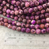 "10mm Smooth Dyed Purple/Magenta Sea Sediment Jasper Round/Ball Shaped Beads - 16"" Strand (Approximately 41 Beads) - Natural Aqua Terra Stone"