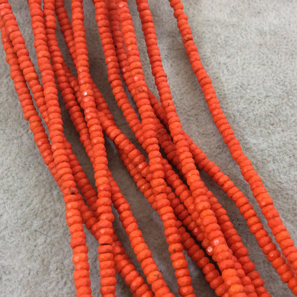 2x4mm Dyed Orange Howlite Faceted Rondelle Shaped Beads with 1mm Holes - Sold by 15.5