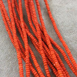 "2x4mm Dyed Orange Howlite Faceted Rondelle Shaped Beads with 1mm Holes - Sold by 15.5"" Strands (Approx. 190 Beads) - Quality Gemstone"
