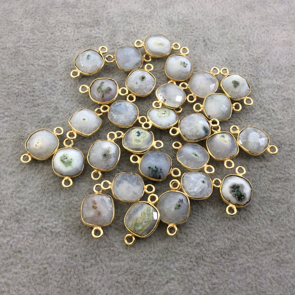 Gold Plated Faceted Natural White/Green Solar Quartz Square Shaped Bezel Connector - Measuring 10mm x 10mm - Sold Individually, RANDOM
