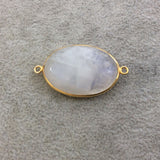 Gold Plated Natural Moonstone Faceted Oval Shaped Copper Bezel Connector - Measures 23mm x 32mm - Sold Individually, Randomly Chosen