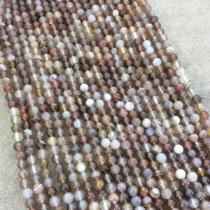 "4mm Smooth Natural Botswana Agate Round/Ball Shaped Beads with 0.8mm Holes - Sold by 15.5"" Strands (Approx. 100 Beads) - Quality Gemstone"