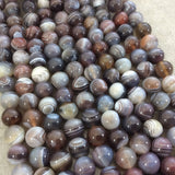 "12mm Smooth Natural Botswana Agate Round/Ball Shaped Beads with 1mm Holes - Sold by 15.25"" Strands (Approx. 33 Beads) - Quality Gemstone"