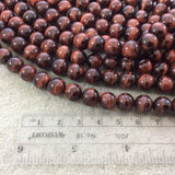 "10mm Smooth Natural Red Tiger's Eye Round/Ball Shaped Beads with 1mm Holes - Sold by 15"" Strands (Approx. 38 Beads) - Quality Gemstone"