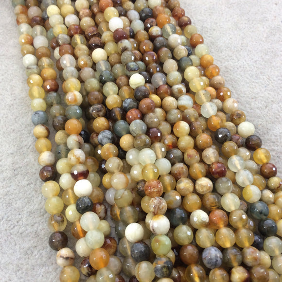 6mm Faceted Natural Flower Jasper Round/Ball Shaped Beads with 1mm Holes - Sold by 15