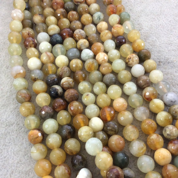 8mm Faceted Natural Flower Jasper Round/Ball Shaped Beads with 1mm Holes - Sold by 16