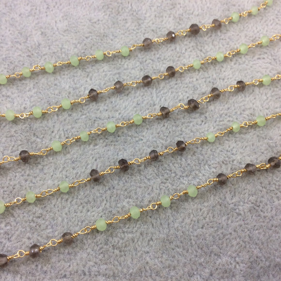 Gold Plated Copper Wrapped Rosary Chain with 3mm Faceted Natural Smoky Quartz and Prehnite Rondelle Beads (CH120-GD) - Sold by 1' Sections!