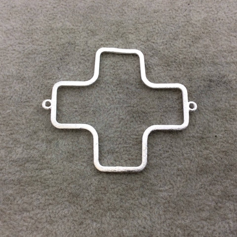 Large Silver Plated Copper Open ROUNDED Cross/Plus Sign Shape Connector Components - ~ 52mm x 52mm - Sold in Packs of 10 (194-SV-RD)
